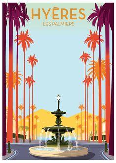 Richard Zielenkiewicz: Hyères les Palmiers #vintage #poster #hyere #palms #tourismepaca #provence