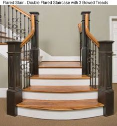 This staircase combines stair flare and curved treads at the bottom.Click through to the website for more on staircase design and home design. Wrought Iron Staircase, Curved Staircase, Staircase Design, Spiral Staircases, Painted Stairs, Wooden Stairs, House Doors, House Stairs, Stairs Canopy