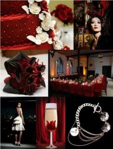 Black and red wedding flower centerpieces