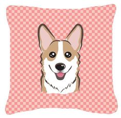 Checkerboard Corgi Indoor/Outdoor Throw Pillow