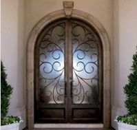 Portofino Iron Doors by Colletti Design, USA Entrance Doors, Front Doors, Entry Stairs, Mediterranean House Plans, Double Entry Doors, Wrought Iron Doors, Cool Doors, Door Gate, Through The Looking Glass