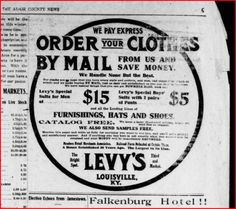 Levy Brothers ad 1911, Louisville, Ky