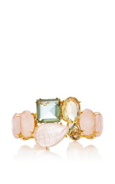 Rose And Lemon Quartz And Green Amethyst Cuff by BOUNKIT Now Available on Moda Operandi