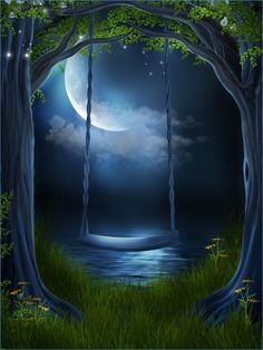 Astonishing oval blue moon eve with a swing of natural beauty, eclipse-like light of the moon glistening upon the waters.  Cool and relaxing eve.  Where is the angel in her chiffon dress draped upon the seat of peace?