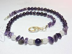 StrakaTinka / Ametyst s krištáľom - náhrdelník