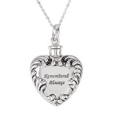 Remembered Always Heart Ash Holder Necklace