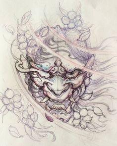 japanese tattoos for women Demon Tattoo, Mask Tattoo, Samurai Tattoo, Oni Tattoo, Neue Tattoos, Body Art Tattoos, Sleeve Tattoos, Chinese Tattoo Designs, Japanese Tattoo Art