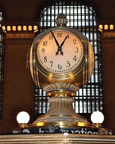 Grand Central Terminal's four-sided Seth Thomas clock which has stood proudly atop the marble information booth pagoda in the main concourse since the terminal's opening in 1913.