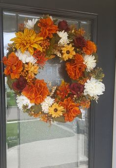Orange Hydrangea Grapevine Wreath for Door, Wreath with Burgundy Roses and Yellow Dahlias, Decor with Florals, Harvest Wreath, Outdoor Decor – Grapevine Wreath İdeas. Easy Fall Wreaths, Diy Fall Wreath, How To Make Wreaths, Autumn Wreaths For Front Door, Winter Wreaths, Fall Door, Wreath Ideas, Door Wreaths, Grapevine Wreath
