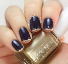 New Years Grungy French Manicure - The Nail Polish Challenge