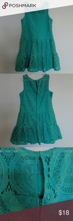 Girls SZ 12 MyMichelle Eyelet Lace Teal Dress Sleeveless drop waist dress, perfect for summer.  No flaws. My Michelle Dresses Casual