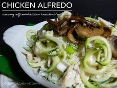 Creamy Low Carb Chicken Alfredo Zucchini Zoodles with Mushroom. A super easy delicious Low Carb High Fat LCHF Keto Banting meal.