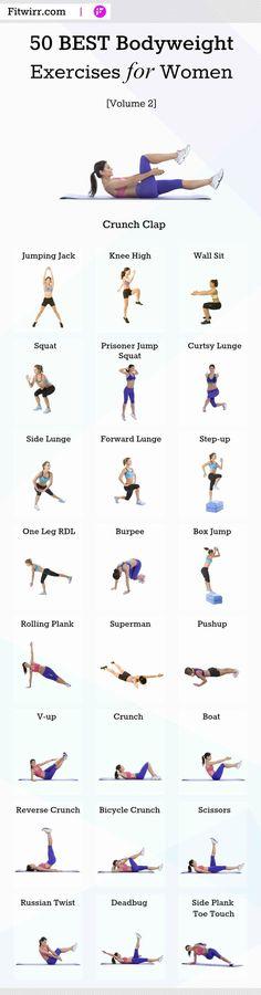 50 de los mejores ejercicios para que las mujeres se mantengan en forma y que se pueden realizar en casa. #bodyweightworkouts #bodyweightexercises