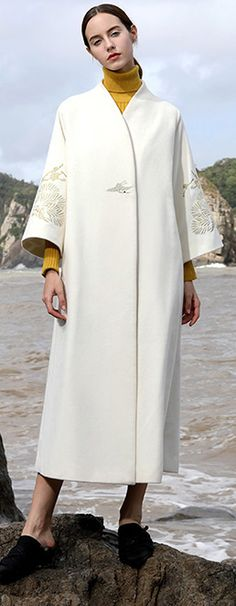 women white woolen coats plus size long coats V neck back side open embroidery flare sleeve woolen outwear Flare, Long Coats, Maxi Coat, Plus Size Coats, Maleficent, Trench Coats, High Fashion, Cardigans, Embroidery