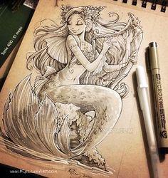 Mermaid with Harp by KelleeArt on @DeviantArt