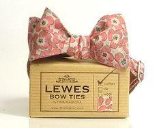 Plus beaux coton noeud papillon rose pêche corail gris floral imprimé floral sur crème vintage, mariage noeud papillon hommes que soi tie bow cravate