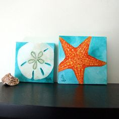 Original Paintings SAND DOLLAR & STARFISH Set 5x5 Oil by nJoyArt.