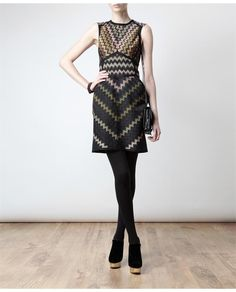 MISSONI 'Zig-zag' wool-blend knit dress