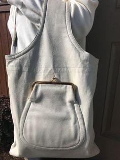Vintage Bonnie Cashin Sills Ivory Leather Kiss lock Denim Handbag WoW Rare Mod   eBay
