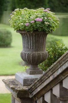 Stone Urn Planter on a Pedestal, planted with Sedum. Via Gardening Walks. [In French : Vase Médicis sur Socle].