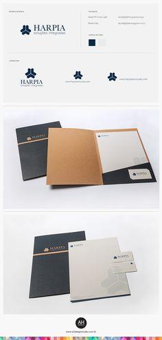 AH Design Studio, Identidade Visual para a Harpia #desenhodemarca, #idvisual… Corporate Brochure Design, Corporate Identity, Business Card Design, Branding, Booklet Design Layout, Page Design, Web Design, Folder Design, Letterhead Design