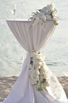 Don't forget about the cocktail table decor! You could cover your cocktail tables in Tiffany blue. Wedding Chairs, Wedding Table, Wedding Reception, Cocktail Table Decor, Cocktail Tables, All White Wedding, Our Wedding, Wedding Decorations, Table Decorations