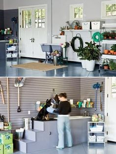 A organized garage and dog grooming area!