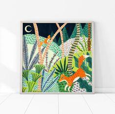 Fox Woodland Print / Botanical Print / Fox Nursery Decor / Woodland Wall Art / N Fox Nursery, Woodland Nursery Decor, Nursery Wall Art, Nature Prints, Boho, Botanical Prints, Art For Kids, Painting, Beautiful