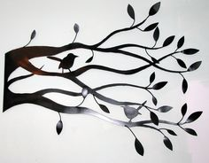 Hand Made Iron Bird in Tree Silhouette Wall Art by VinTin via Etsy.