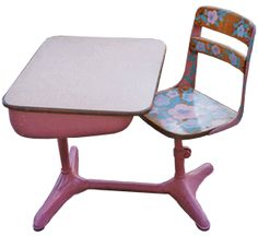 """We had these desks (blue & not as cute.)  Every so often my 4th grade teacher would have us clean our desks then have """"desk inspection"""".  He would flip our desk upside down spilling everything out if it was dirty.  I did not catch on until the end of the year that every so often he would wipe his clean white cloth on the bottom of his shoe before swiping the inside of our desk and pronouncing it """"dirty""""."""
