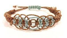 Blue and Brown Macrame Hemp Bracelet