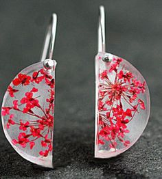 Sterling silver real flower semi circle earrings. Red queen Anne's lace in transparent resin