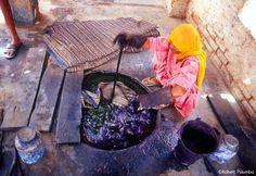 Indigo dye bath in India