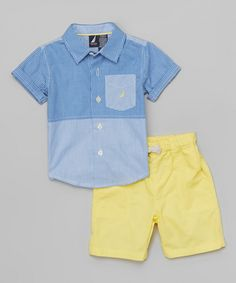 Look at this Nautica Flag Blue Button-Up & Yellow Shorts - Infant, . - Look at this Nautica Flag Blue Button-Up & Yellow Shorts - Infant, Toddler & Boys by Nautica Toddler Boy Fashion, Toddler Boy Outfits, Baby Kids Clothes, Toddler Boys, Infant Toddler, Kids Fashion, Boys Summer Outfits, Little Boy Outfits, Yellow Shorts Outfit