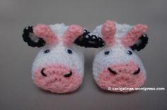 Cow booties / Patucos de vaca Crochet free pattern / Patrón gratis crochet