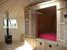 bed in a cupboard | Here's a fabulous rustic wooden cupboard bed from a yurt located in ...