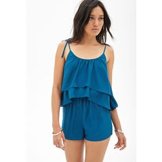 Forever 21 Flounced Sateen Romper ($20) ❤ liked on Polyvore