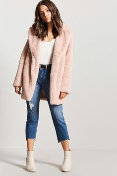 Fall fashion must have!  blush faux fur jacket! Forever 21
