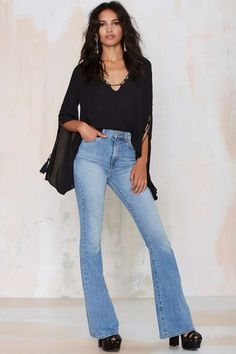 Nasty Gal Because the Night Lace-Up Chiffon Top   Shop Clothes at Nasty Gal!