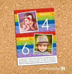 33 best dual birthday parties images on pinterest in 2018 lego inspired party invite building bricks combined birthday party photo invitation sibling diy printable rainbow my mod blocks duet filmwisefo