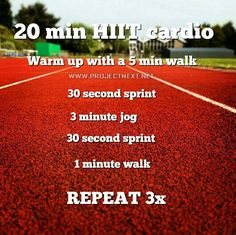 20 Min. HIIT.  I usually do 20 minutes of one minute jog and two minute run alternating....
