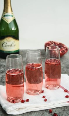 23 Yummy Signature Wedding Cocktails to Get the Party Started - Pomegranate Champagne via Dishing Up the Dirt