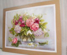 Купить Картина лентами Роза, фуксия и гортензия 50 х 40 см - картина лентами