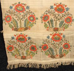 Turkish embroidered towel, silk and metallic foil on linen, end borders in elaborate silk and metallic embroidery of stylized flowers, 19th c