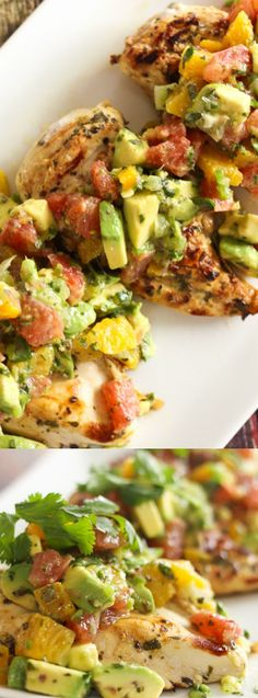 These Citrus Avocado Chicken from Favorite Family Recipes is a bright and summery dinner! Sweet, tangy, citrus flavor combines with smooth and cool avocado to make one of the best grilled chicken recipes ever!