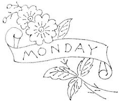 ~The days of the week could be replaced with names and used on needle books, aprons, pot holders.....etc, etc etc