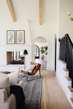 I love the light and bright area with points of black that draw your eyes! Home Living Room, Living Room Designs, Living Spaces, Living Room With Rug, Living Room Stairs, Modern Living Room Decor, Dark Wood Floors Living Room, Casual Living Rooms, Spacious Living Room