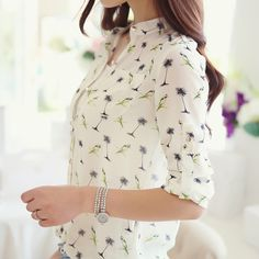 2015 New auturn spring Women long-sleeve bird Printed Casual Chiffon Shirt Fashion Slim Blouse Shirts for Women blusas femininas(China (Mainland)) Print Chiffon, Chiffon Shirt, Chiffon Blouses, Lace Chiffon, White Chiffon, Chiffon Tops, Half Sleeve Women, Style Floral, Fashion Moda