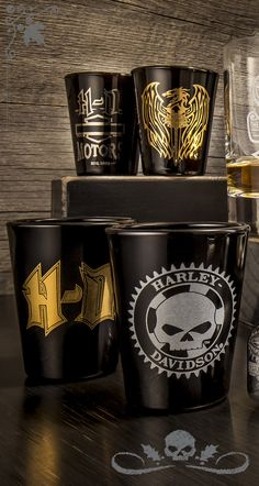 Collect them or pour them. Also a great gift idea! | Harley-Davidson Set of 4 Shot Glasses