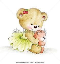 Cute Teddy bear with baby